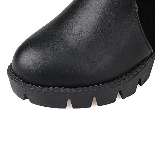 AllhqFashion Mujeres Puntera Redonda Tacón Medio Material Suave Caña Baja Tachonado Botas Negro