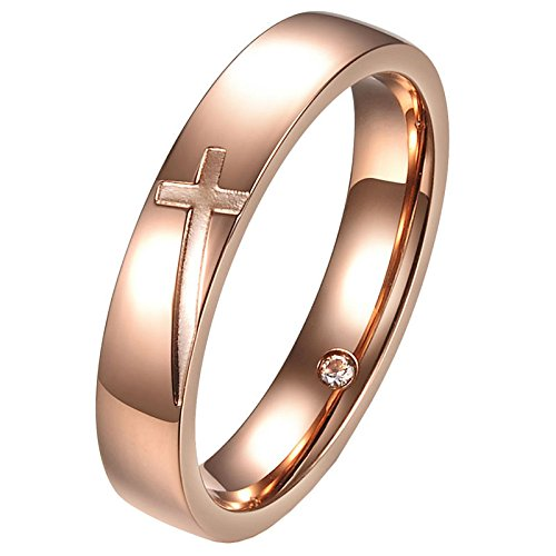 UM Jewelry Couple Rings Personalized Stainless Steel Promise Engraved Christian Cross marriage Band