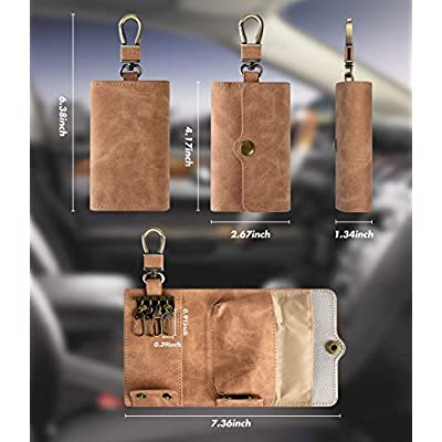 Faraday Bags for Car Key Fob Protector Signal Blocker and Keys Chain Handmade Multifunction Brown PU Leather Key Holder Bag with Strong Metal Hook: Car Electronics