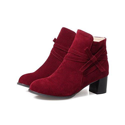 Boots Toe Kitten Zipper Claret Women's AgooLar Solid Blend Round Heels Materials Tz44nU