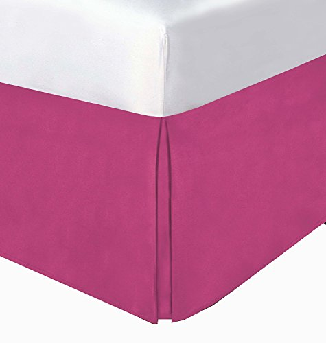 (Crescent Bedding Pleated Bed Skirt Easy Care, Quadruple Pleated Design, Fabric Base Allows for Natural Draping, 15