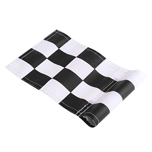 Baoblaze Durable Golf Flag Checkered and Solid Putting Green Marker Flag Backyard Practice Aid Symbol - Black+White