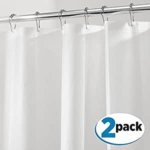"""mDesign PEVA 3G Shower Curtain Liner (PACK of 2), MOLD & MILDEW Resistant, ODORLESS - No Chemical Smell, 72"""" x 72"""" - White"""