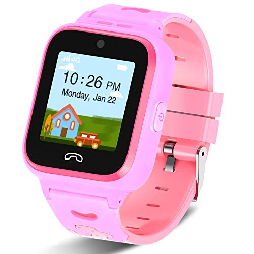 [2020 Updated]4G Kids Smartwatch with GPS Tracker, Touch Screen Boys Girls Watch Phone Waterproof with Remote Monitoring/SOS/Game/Pedometer/FaceTalk/2-way Call, Kids Christmas Birthday Gift Toys(Pink)
