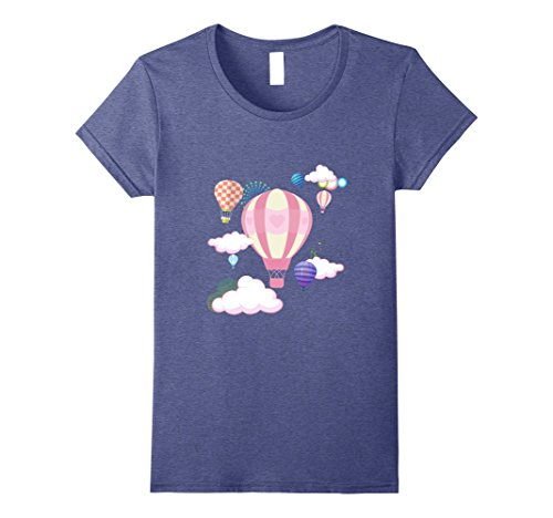 Womens Hot Air Balloons, The Sky Is The Limit, Creative, Gift Shirt Large Heather Blue (Limit Blue Sky)