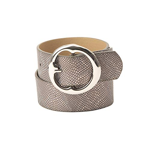 Jessica Simpson Women's Round Buckle Casual Jean Belt (Grey, Size Large)