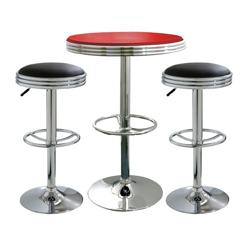 Offex Set of 3 Soda Fountain Style Bar Table and Stool - Black/Red