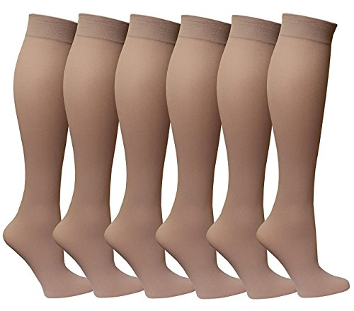 (Women's Trouser Socks, 6 Pairs, Opaque Stretchy Nylon Knee High, Many Colors)