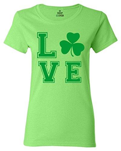 [Shop4Ever Green Shamrock Love Women's T-Shirt St. Patricks Day Shirts Large Lime0] (St Patricks Day Shirt Ideas)