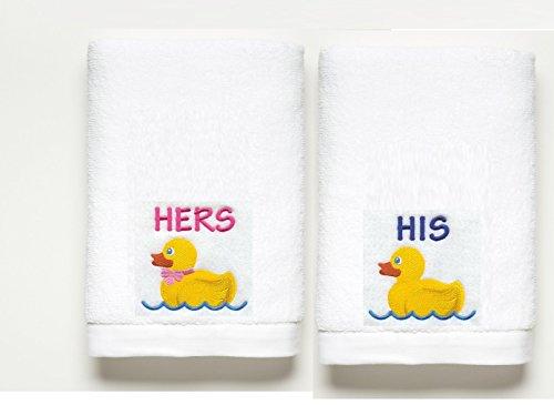 His & Hers Rubber Duck ~ Bath Towel Set ~ 100% Cotton