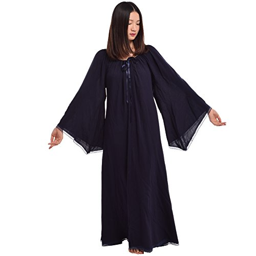 Encapuchonn clater Lacer Mdival Fantaisie Femmes BLESSUME Bleu Manche Robe Robe Fte Longue Cosplay ORxgz
