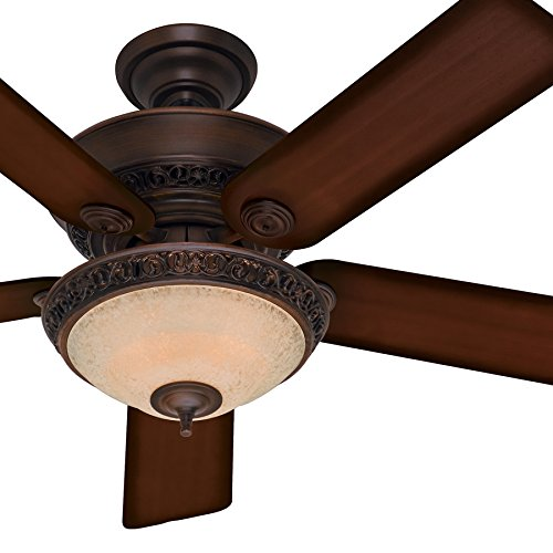Hunter Fan 52in Traditional Cocoa Ceiling Fan with an Amber Scavo Glass Light Kit, 5 Blade (Renewed)