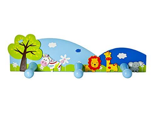 Kids Safari Animal Themed Coat Hooks Wall Door Hooks for Boys or Girls Nursery or Bedroom