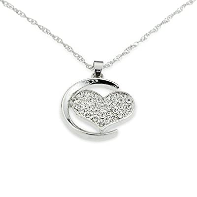 Silver Necklace for Girlfriend's Gift - Heart Over the Moon and Back Pendant Perfect for Girls and Women