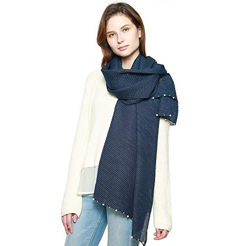 Women's Modern Pleated Soft Metallic Accent Scarf with Pearl Embellishments (Navy w/Pearl) ()