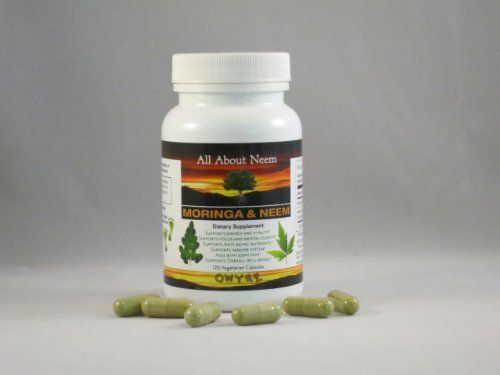 Moringa Neem Leaf Capsules (Six Pack) Organic High Potency Moringa Leaf (400 Mg) Neem Leaf (500Mg) Made in USA by All About Neem (Image #1)