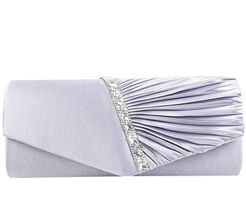 Jubileens Womens Pleated Crystal-Studded Satin Handbag Evening Party Clutch Purse (Silver)