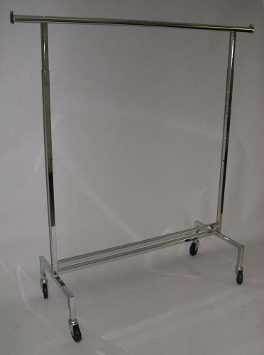 "Single Bar Clothing Display Rack 60"" Long Straight Rolling W"