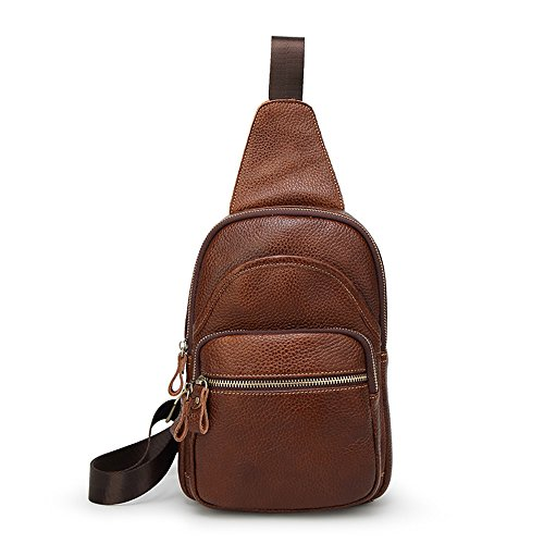 SIFINI Mini Genuine Leather Sling Bag Sport Chest Bag Multipurpose Daypacks (brown) Leather Mini Sling