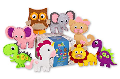 - Happy Felties Jumbo Pack - Felt Animal Crafting Sewing Kit and Animal Crafts - Fun DIY Stuffed Animal Sew Kits for Kids Boys and Girls - Beginner Friendly
