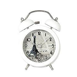 Twin Bell Alarm Clock with Nightlight Eiffel Tower 3