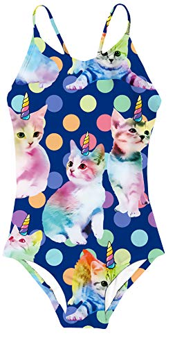 Girls Swimsuits Funny Cats Rainbow Unicorn Print One Piece Bathing Suits Beach Sport Bandage Strap Cross Back Swimwear for Toddler Little Kids,Rainbow Unicorn Cat,7-8 Years