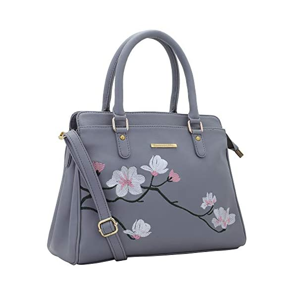 41rSHlJb5DL Lapis O Lupo Women Vegan Leather Handbags Flower Embroidered Bags Fashion Satchel Bags Top Handle