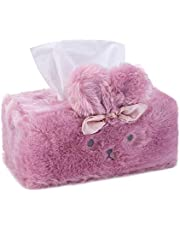 Cute Tissue Box Cover, Tissue Box Cover, Tissue Holder Decorative, Fluffy Plush Cover, Office Desk, Bedroom/ Living Room and car Accessories, Bunny Rabbit Tissue Box Cover, Kawaii Desk Accessories