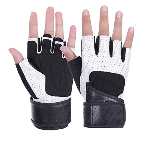 - Men's Gloves Fitness Exercise Training Gym Gloves Mittens Gloves Without Fingers Women Riding Leather Gloves,White