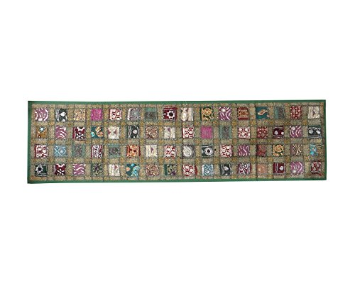 My Craft Palace Green Patchwork Table Runner Sequin Embroidery Tapestry (Dresser Top Runner)