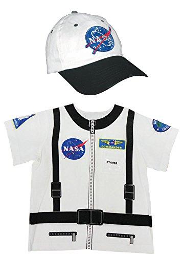 Aeromax My 1st Career Gear Astronaut NASA Shirt and Astronaut Cap (2 Piece Bundle), White