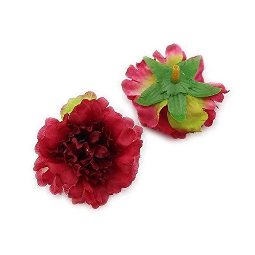 FLOWER Artificial Carnation Head Handmade Home Decoration DIY Event Party Supplies Wreaths 30pcs/lot 5cm (Burgundy)