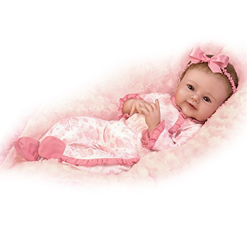 Lifelike Baby Doll Poseable and Weighted with Hand-Rooted Hair by The Ashton-Drake Galleries