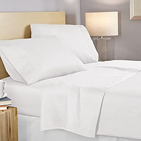 GOLD TEXTILES Fitted Sheet White T-200 PolyCotton Percale Hotel Linen Extra Soft