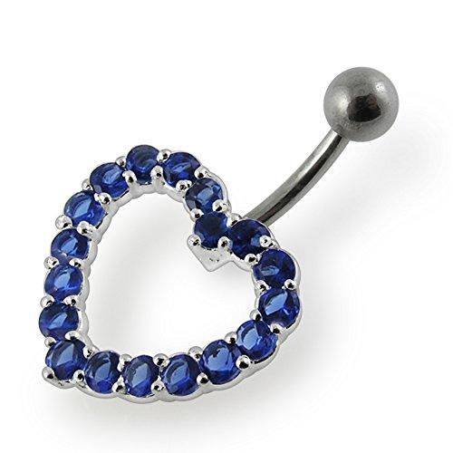 Dark Blue Gemstone Fancy Heart 925 Sterling Silver with Stainless Steel Belly Button (Designer Sterling Silver Belly Button Ring)