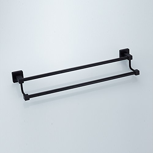 Znzbzt Stainless steel towel rod black old towel towel rack hotel antique double bar Bathroom Wall,40CM-Punch-free installation