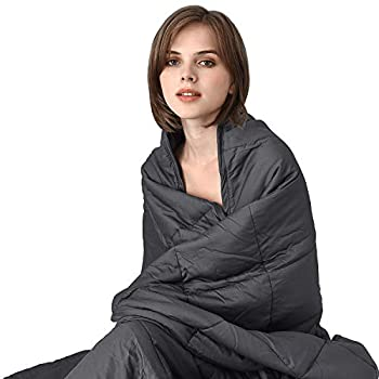 Image of COK Weighted Blanket(15lbs, 60'x80') for Adults, Queen Weighted Blanket for Calm Deep Sleep, Premium Cotton Heavy Blanket with Glass Beads COK B07L9TP32P Weighted Blankets