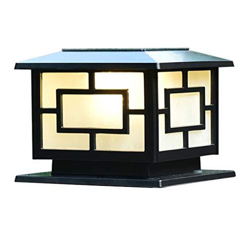 (Post Lights Solar Column Head Light LED Waterproof Door Light Outdoor Home Door Pillar Light Villa Wall Garden Light, Dual-use (Color : Black, Size : 2522cm))
