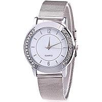 Siviki Watch, Clearance!!! New Luxury Fashion Women Crystal Golden Stainless Steel Analog Quartz Wrist Watch (Silver)