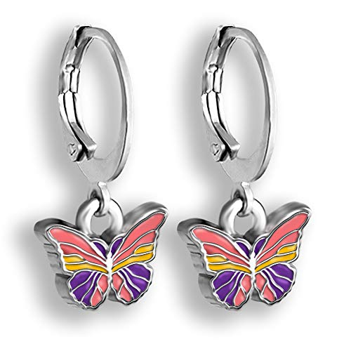 Butterfly Earrings For Women | Hand Painted Enamel Butterfly Jewelry | Pink And Purple Or Blue And Green Colorful Earrings | Hoops Earrings For Women | Comfortable Safety Closure Dangle Hoop Earrings