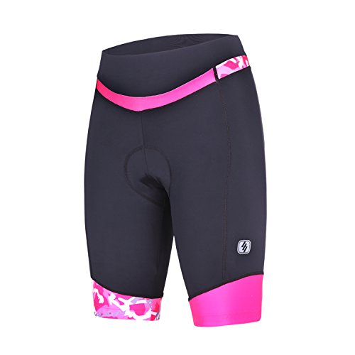 Short Element Clothing - Womens Cycling Shorts with 3D Padded Camo Ride Bike Shorts with Reflective Elements(Pink,M)