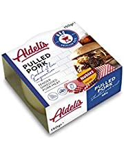 Aldelís Lata de Hebras de Cerdo en Salsa Barbacoa - Canned Pulled Pork with Smoky BBQ Sauce Ready to Eat ideal for Wraps and Sandwich - Pack 12x150gr