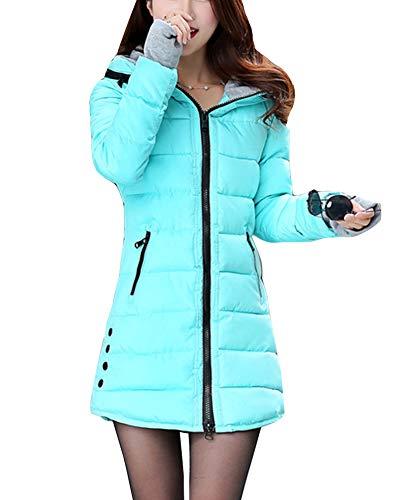 Guiran Women Warm Coat Casual Thicker Winter Down Jacket Slim Overcoat Padded Parka Lake Blue