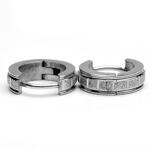 Sirius Jewelry Stainless Steel Earrings Silver Rectangle Huggie Hoop Set, 2pcs