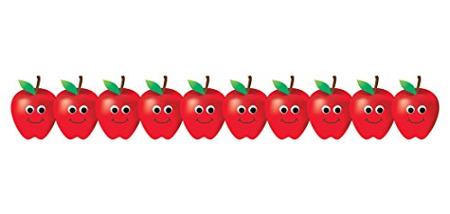 Hygloss Products Happy Apple Bulletin Board Border - Classroom Board Trim - 3 x 36 Inches, 24 Strips (School Time Border Trim)