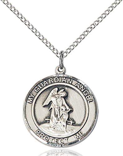 - Sterling Silver Round Catholic Guardian Angel W/child Medal Pendant, 3/4 Inch