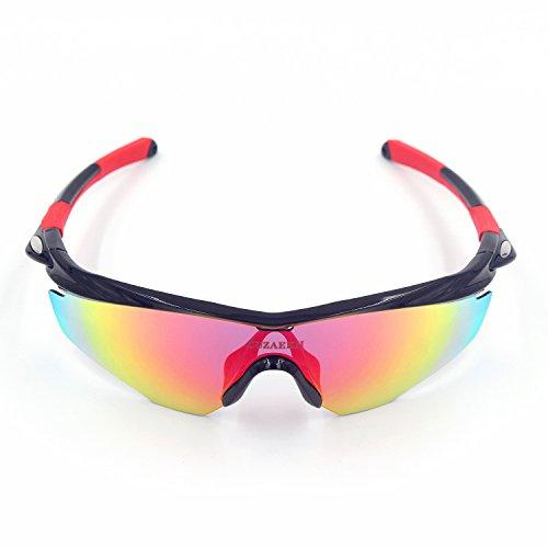 Cuzaekii 5 Lentille Polarisé Cyclisme Lunettes UV400 MTB Bicyclette Sports de plein air Lunettes de soleil de randonnée Lunettes de soleil de cyclisme Cycling glasses (Noir) gIQb6wN3q6