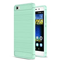 MOONCASE Huawei P8 Lite Case, Carbon Fiber Resilient [Drop Protection] [Anti-Scratch] Rugged Armor Case Cover for Huawei P8 Lite Mint Green