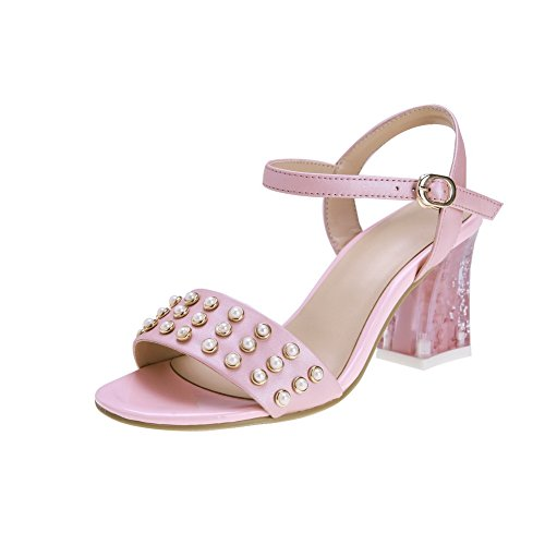 Amoonyfashion Donna Tacchi Alti Fibbia In Materiale Morbido Sandali Open-toe Rosa