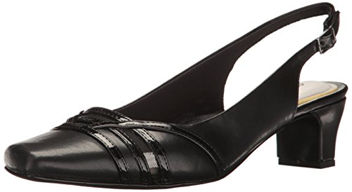 Shoes Slingback Leather (Easy Street Women's Kristen Dress Pump, Black/Patent, 8.5 W US)